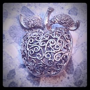 2 for $20 Vintage Silver Filigree Apple Pin
